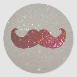 Round Sticker with Pink Bling Glitter Mustache design