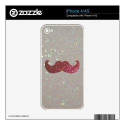 iPhone 4/4S Skin with Pink Bling Glitter Mustache design