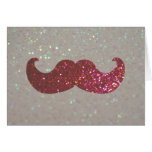 Pink Bling Mustache (Faux Glitter Graphic) Greeting Card