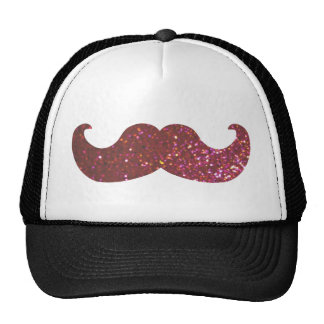 Pink Bling Mustache (Faux Glitter Graphic) Mesh Hat