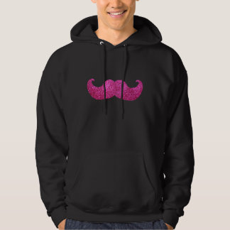 Pink Bling Mustache (Faux Glitter Graphic) Hoodie