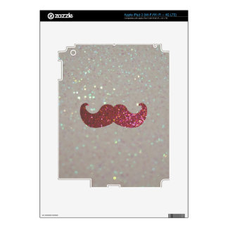 Pink Bling Mustache (Faux Glitter Graphic) iPad 3 Skin