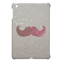 Case Savvy iPad Mini Glossy Finish Case with Pink Bling Glitter Mustache design