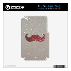 iPod Classic (80/120/160GB) Skin with Pink Bling Glitter Mustache design