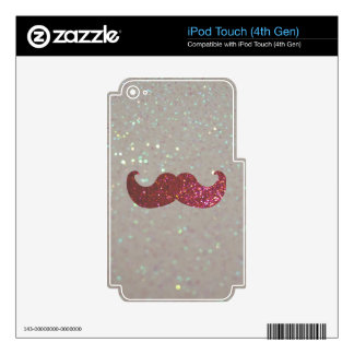 Pink Bling Mustache (Faux Glitter Graphic) iPod Touch 4G Decals