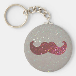 Basic Button Keychain with Pink Bling Glitter Mustache design