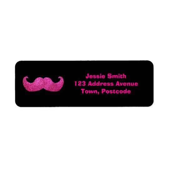 Pink Bling Mustache (Faux Glitter Graphic) Label