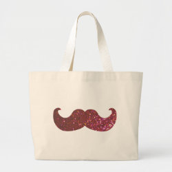 Jumbo Tote Bag with Pink Bling Glitter Mustache design