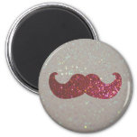 Pink Bling Mustache (Faux Glitter Graphic) Fridge Magnets
