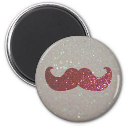 Round Magnet with Pink Bling Glitter Mustache design