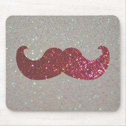 Mousepad with Pink Bling Glitter Mustache design