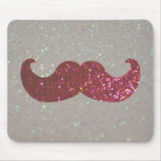 Pink Bling Mustache (Faux Glitter Graphic) Mouse Pad