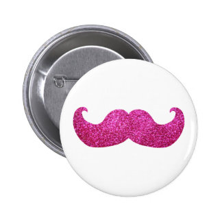 Pink Bling Mustache (Faux Glitter Graphic) Pinback Button