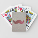 Pink Bling Mustache (Faux Glitter Graphic) Bicycle Card Decks