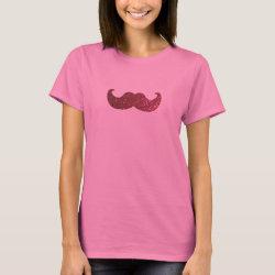 Women's Basic T-Shirt with Pink Bling Glitter Mustache design