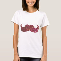 Women's Basic T-Shirt with Pink Bling Glitter Mustache design