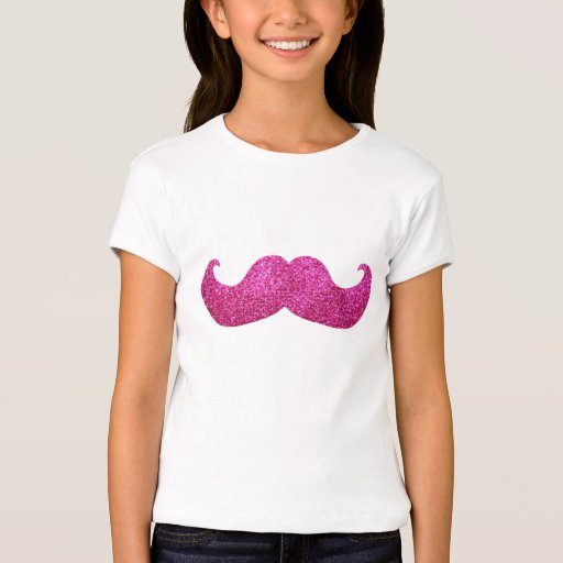 Pink Bling Mustache (Faux Glitter Graphic) T-Shirt