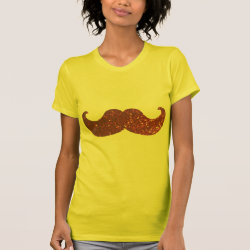 Women's American Apparel Fine Jersey Short Sleeve T-Shirt with Pink Bling Glitter Mustache design