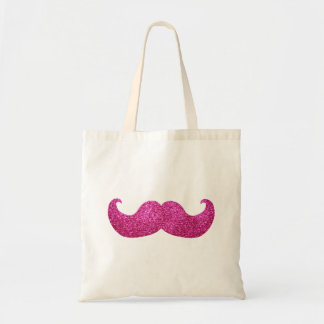 Pink Bling Mustache (Faux Glitter Graphic) Tote Bag