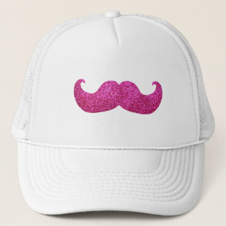 Pink Bling Mustache (Faux Glitter Graphic) Trucker Hat