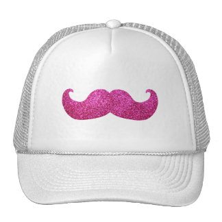 Pink Bling Mustache (Faux Glitter Graphic) Trucker Hat