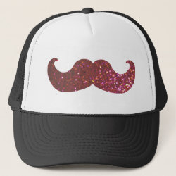 Trucker Hat with Pink Bling Glitter Mustache design