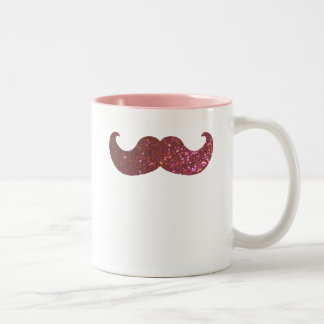 Pink Bling Mustache (Faux Glitter Graphic) Two-Tone Coffee Mug