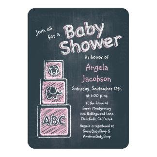 Pink Blocks Chalkboard Baby Shower Invitation