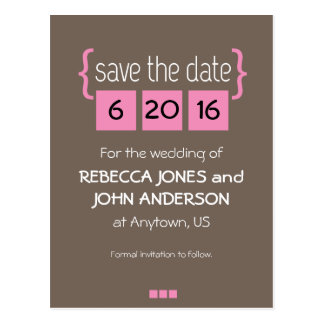 Pink Blocks on Brown, Personalized Save The Date Postcard