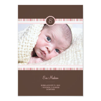 "Pink Bloom Baby Announcement 5"" X 7"" Invitation Card"