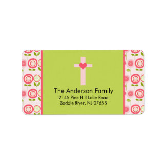 Pink Bloom Cross Religious address Label