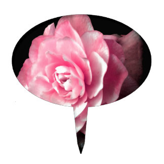 Pink Bloom with Black Background Cake Topper