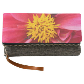 Pink Bloomed Flower Fold-Over Clutch