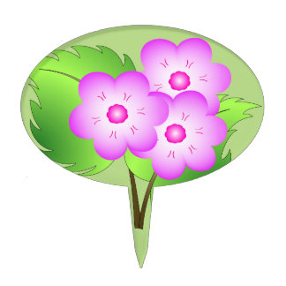 Pink blooming flowers cake topper