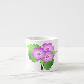 Pink blooming flowers espresso cup