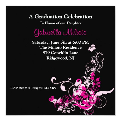 Pink Blooming Flowers on Graduation Invitation