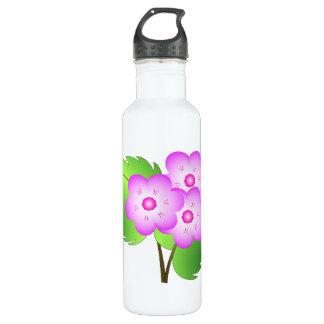 Pink blooming flowers water bottle
