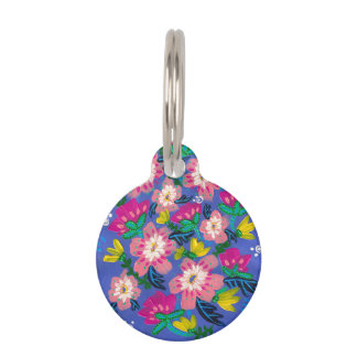 Pink Blooms Small Round Pet Tag