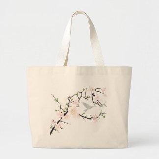 Pink Blossom Bird Jumbo Tote Bag