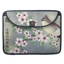 """Pink blossom blue bird """"Fallow your dreams"""" MacBook Pro Sleeve"""