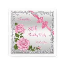 Pink Blossom, Bows & Diamonds 80th Paper Napkin