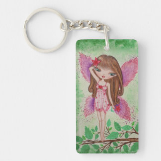 """Pink Blossom"" Fairy Single-Sided Rectangular Acrylic Keychain"