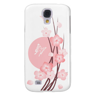 Pink Blossom Flowers and Butterflies Samsung Galaxy S4 Case