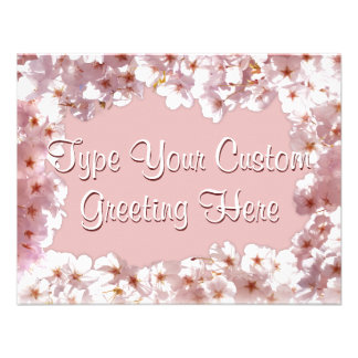 Pink Blossom Invitations Personalized RSVP Cards