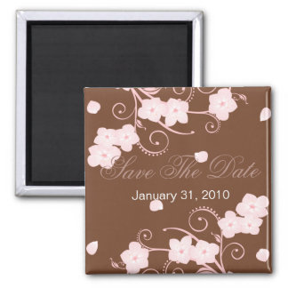 Pink Blossom Save The Date Wedding Announcement 2 Inch Square Magnet