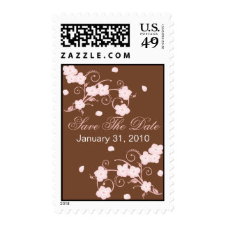 Pink Blossom Save The Date Wedding Announcement Stamps
