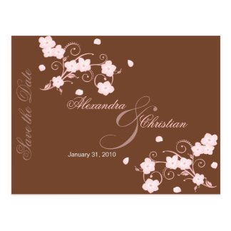 Pink Blossom Save the Date Wedding Announcement Postcard