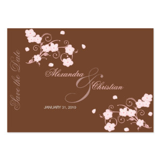 Pink Blossom Save The Date Wedding MiniCard Large Business Cards (Pack Of 100)