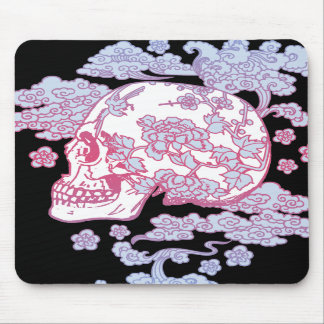Pink Blossom Skull Mouse Pad