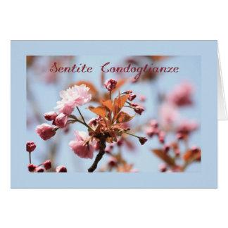 pink blossom sympathy card italian